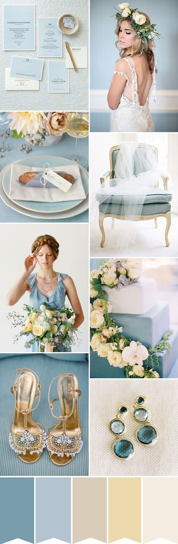 Find out how to create this romantic colour palette of blue and cream for your wedding - http://onefabday.com/powder-blue-and-cream-wedding-color-palette/