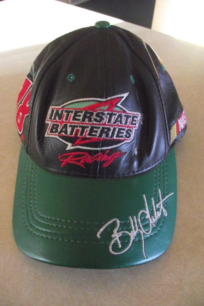 Leather Nascar Bobby Labonte 18 Interstate Batteries Racing Hat Made In Usa Nice Interstatebatteries Interstatebatteries