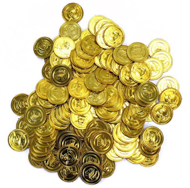 Pirat guldmønter i plast