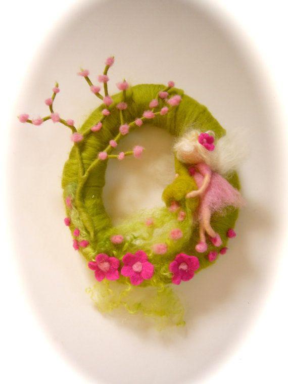Spring WreathSpring Fairy  Needle Felted WaldorfWool by FilzArts, $45.00