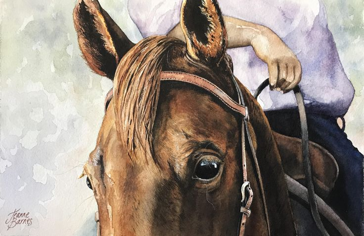 """This is a commission for a client of her and her horse. She sent me a photo and asked me to paint it exactly as per the photo.  """"KC""""  by Jeanne Barnes"""