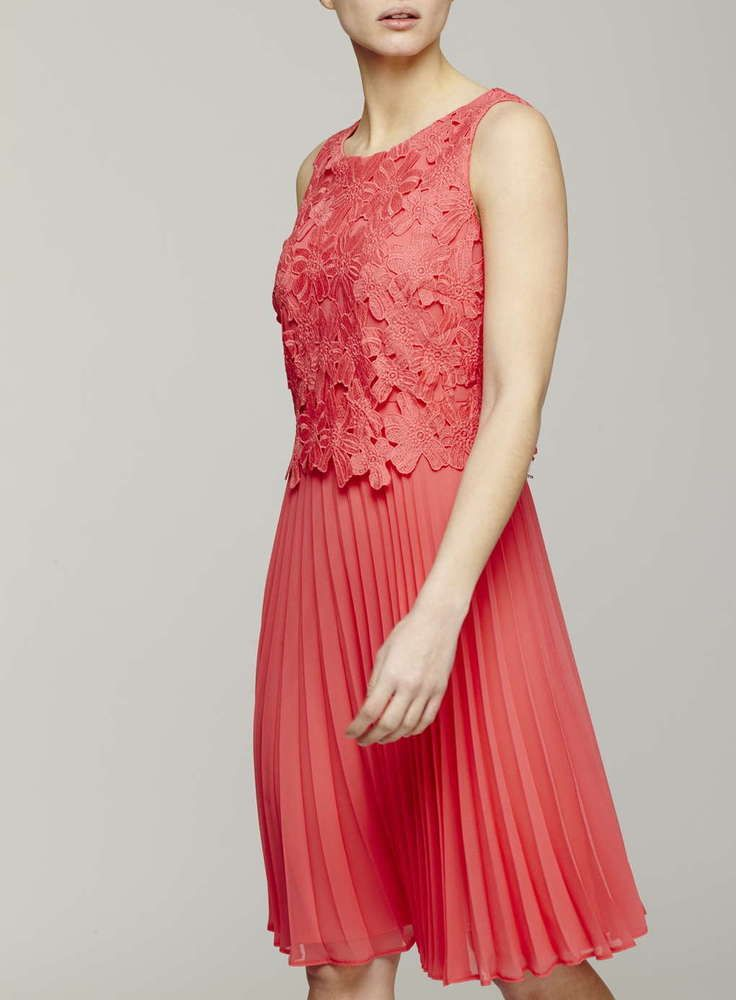 NEW BHS CORAL FLORAL LACE PLEAT OCCASION TEA DRESS 8 to 20 RRP £60