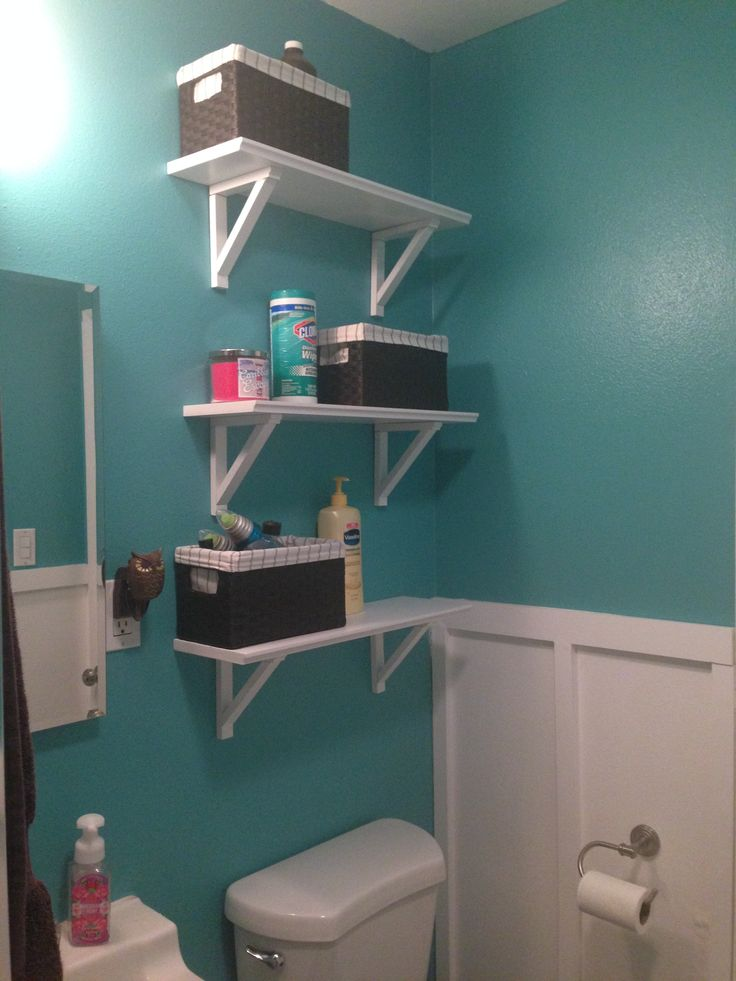 Home depot teal zeal paint added board and baton and for Small bathroom upgrades