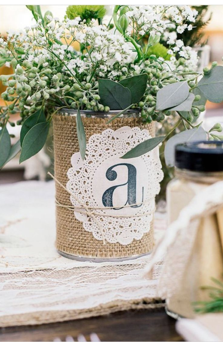 Galvanized can with burlap