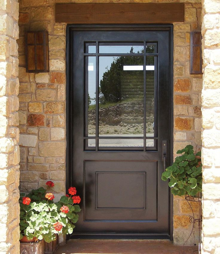 A big open window in the front door the dark colour is for Glass exterior doors for home
