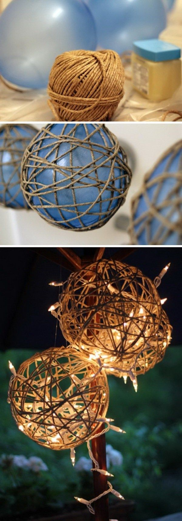 DIY Twine Garden Lanterns: Twine is the perfect material to add the rustic warm and charm to your decor. This twine garden lantern is super easy and quick to make. Other really great ideas!