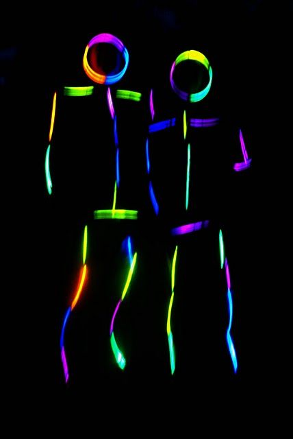 OMG I Have so many guests that would do this if I asked them ... Tape glow sticks to yourself for a dance party!