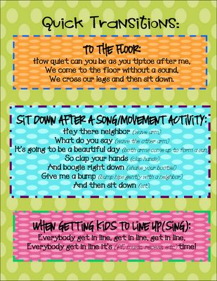 Inspired by Kindergarten: transitions Internet: http://www.ehow.com/info_7848859_importance-transition-activities-classroom-management.html a special song can help students know what is going on and what they are suppose to do. It makes it fun.