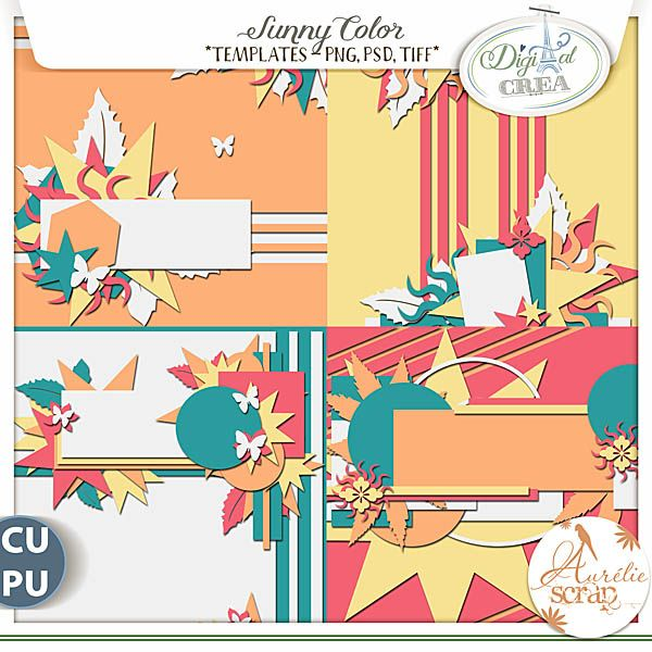 "Templates ""Sunny Color"" by Aurélie Scrap. Find in this pack of templates, forms of suns, stars… A pack which goes with all the seasons.... #scrap #scrapbooking #digital #inspiration #DIY"