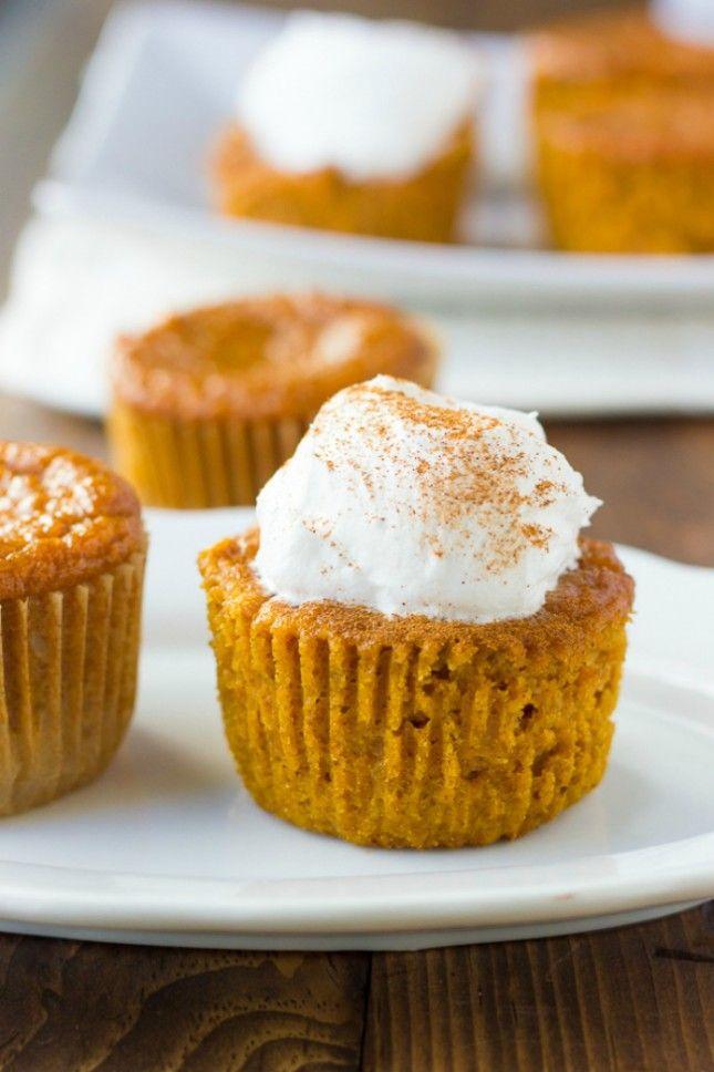Gluten-Free Crustless Pumpkin Pie Cupcakes. YUM.