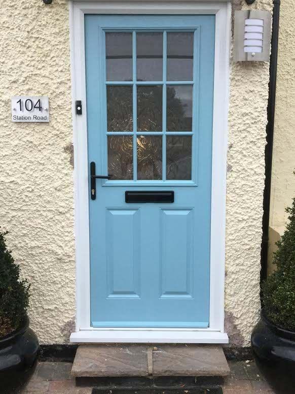 2 Panel 1 Grill Composite Front Door In Duck Egg Blue