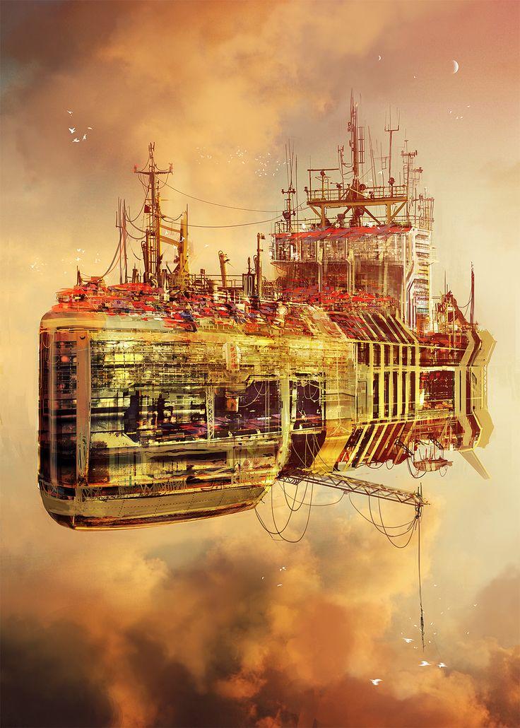 Big rusty flying town ship by MacRebisz / 亗 Dr. Emporio Efikz 亗