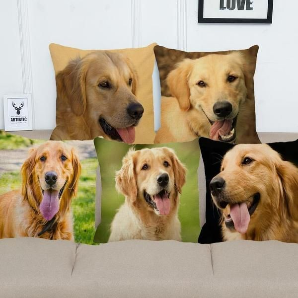 Golden Retriever Pillow Case Decorative 45x45cm Dogs Golden