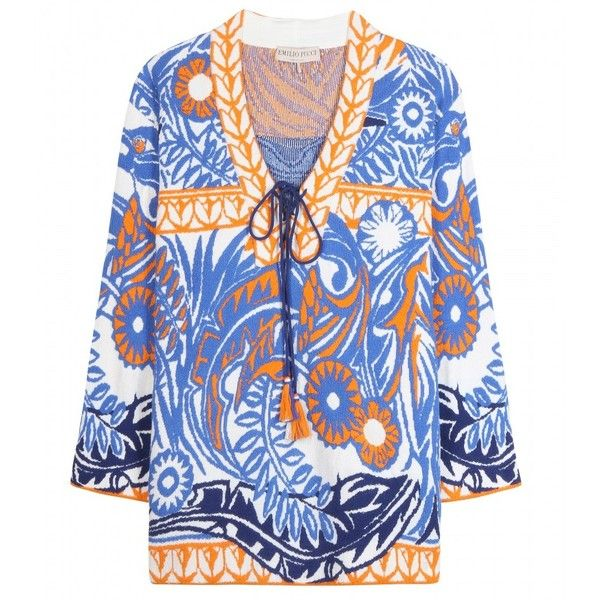 Emilio Pucci Cotton-Blend Kaftan Top (€485) ❤ liked on Polyvore featuring tops, tunics, blue, blue top, emilio pucci, caftan tops, caftan tunic and kaftan tunic