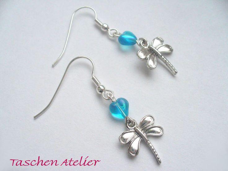 Ohrhänger - Ohrringe LIBELLE Ohrhänger silberfarben blau - ein Designerstück von CreativeArtDesign bei DaWanda