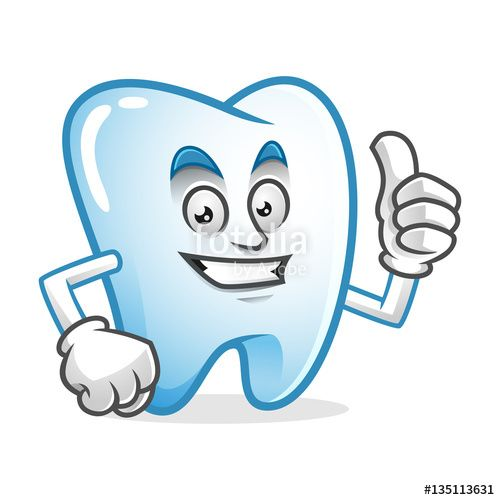 """Download the royalty-free vector """"Happy thumb up tooth mascot, tooth character, tooth cartoon vector """" designed by IronVector at the lowest price on Fotolia.com. Browse our cheap image bank online to find the perfect stock vector for your marketing projects!"""