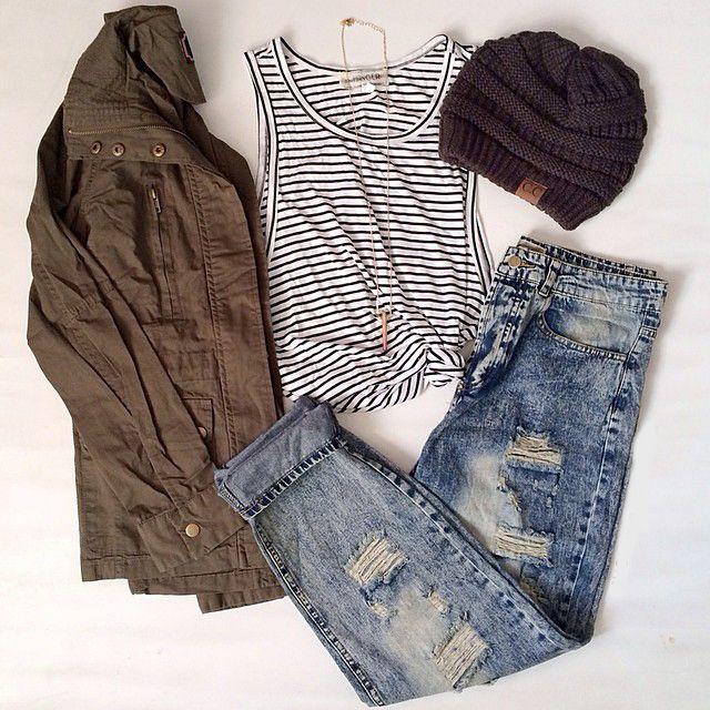 ripped jeans, striped shirt, solid olive coloured jacket, and toque