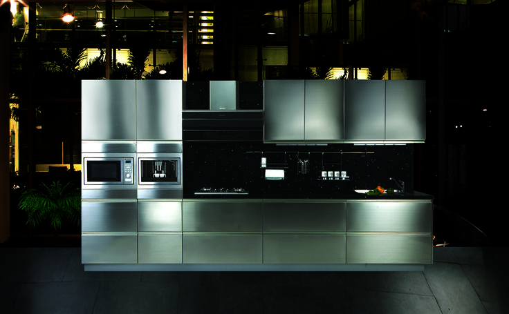 Stainless steel modular gallery kitchen india by rajat for Stainless steel modular kitchen designs