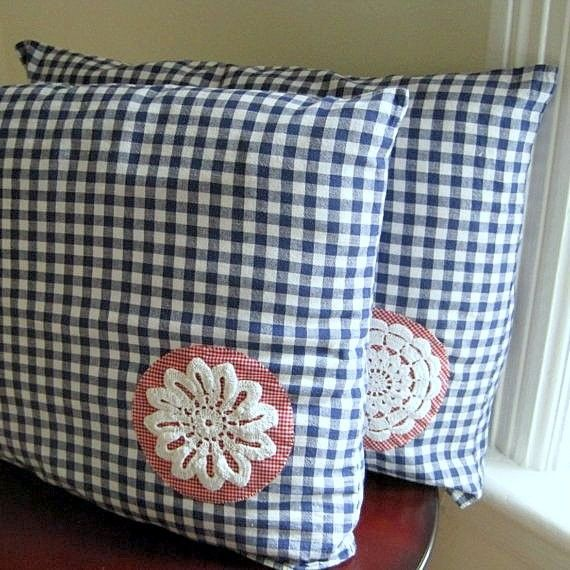 vintage gingham pillow covers decor set 2 / by SewnNatural on Etsy