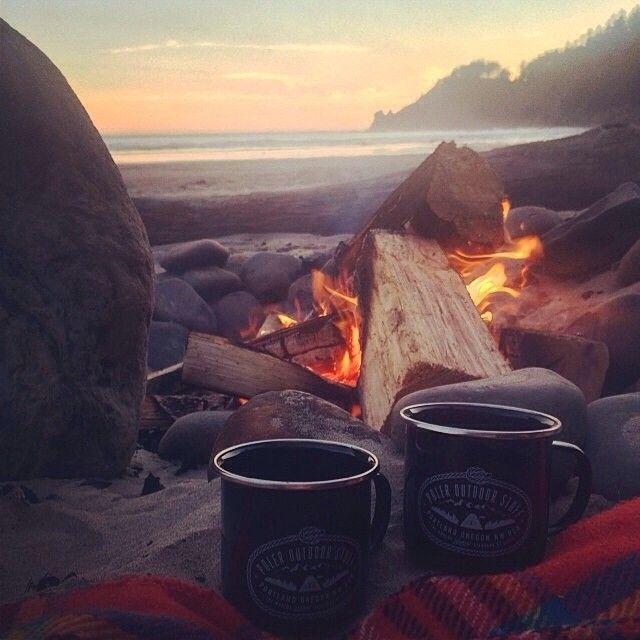 beach bonfire and coffee.