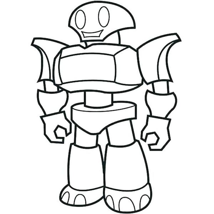 Simple Robot Coloring Page For Kids Coloring Pages Robot Cartoon Robots Drawing Cartoon Coloring Pages