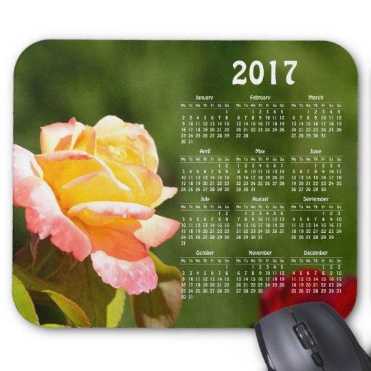 Beautiful rose 2017 calendar mouse pad