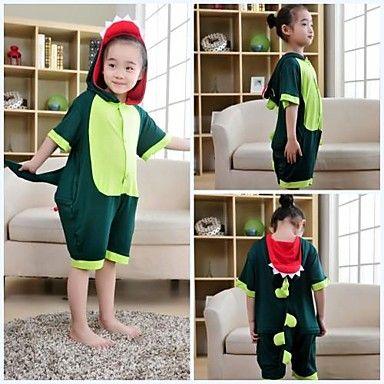 Kids Green Dinosaur Modal Kigurumi Pajamas For Summer