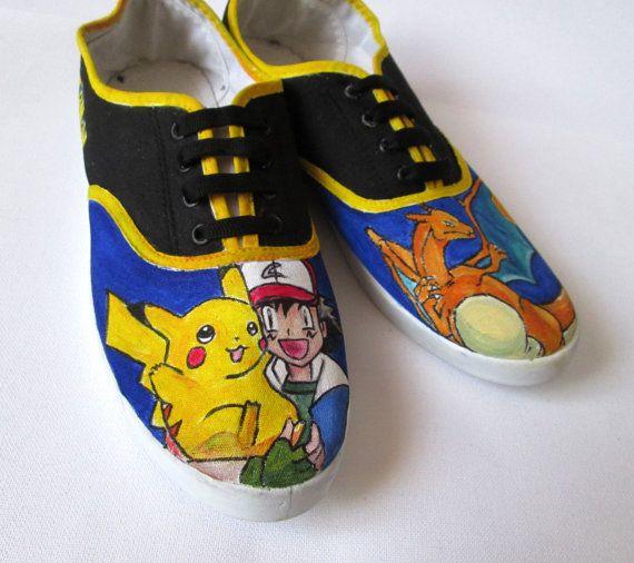 Custom handpainted sneakers Pokemon Fanart by MadCandies on Etsy