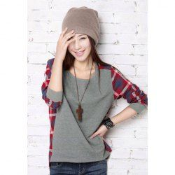 $7.78 Street Fashion Checked Long Sleeve T-Shirt For Women