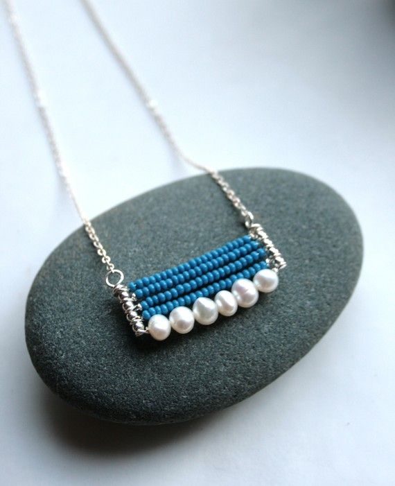 simple pendant with pearls and seed beads