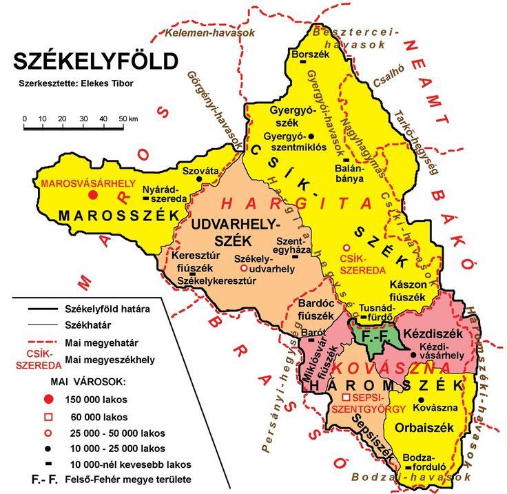 Székelyföld térképe