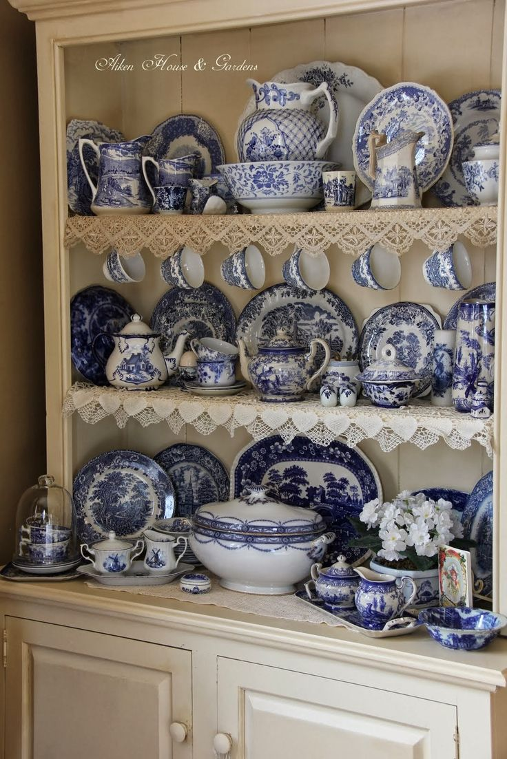 Aiken House & Gardens: Blue & White Transferware Cupboard: