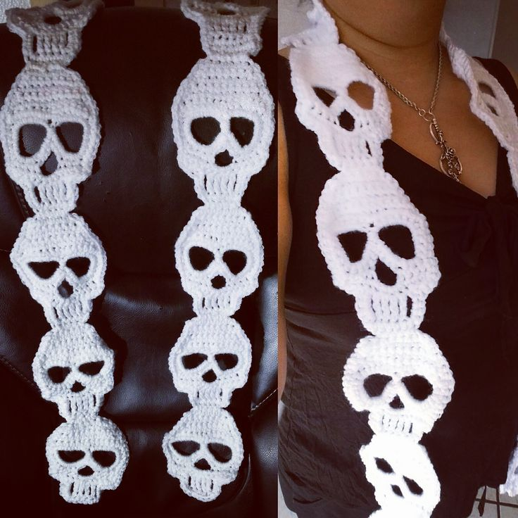 Crochet Skull Scarf 5 Foot Scarf Fearlesssubmissive Com