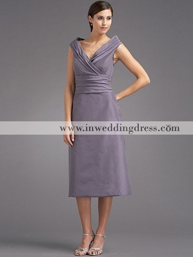 Tea Length Taffeta V Neck Mother Of The Groom Dresses MO097 Rehearsal Dinner WeddingAfternoon