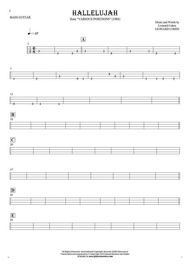 Hallelujah sheet music by Leonard Cohen. From album Various Positions (1984). Part: Tablature for bass guitar.