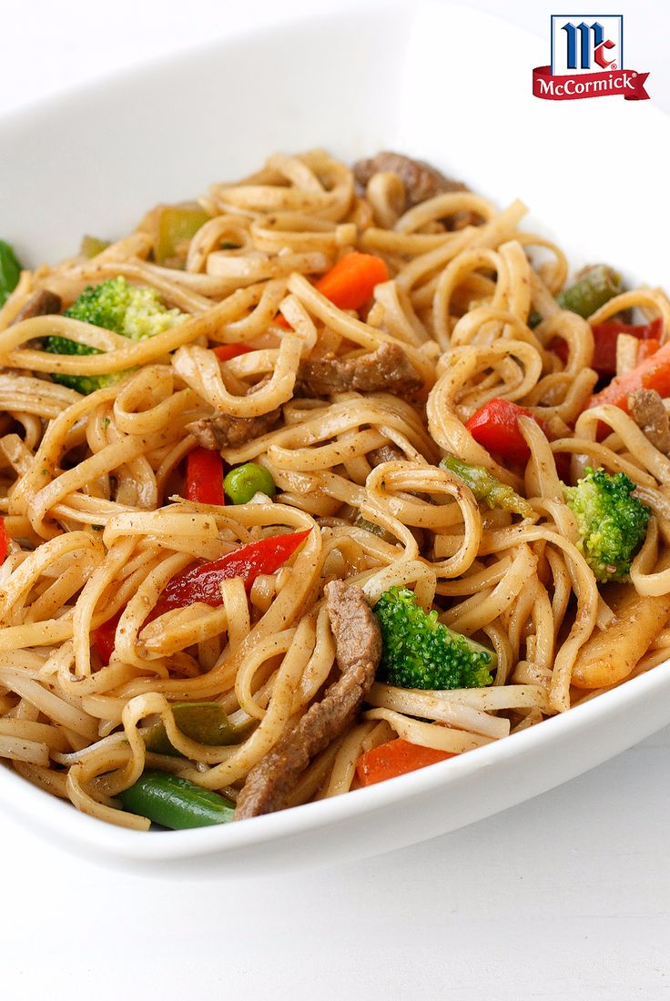 Ditch the takeout tonight and make homemade beef Lo Mein, seasoned with the everyday flavors of ginger, cinnamon and white pepper. Keep it easy by using frozen Asian stir-fry vegetables. Toss everything in a wok or frying pan, then plate your Lo Mein family-style over rice or Asian noodles or easy weeknight dinner.