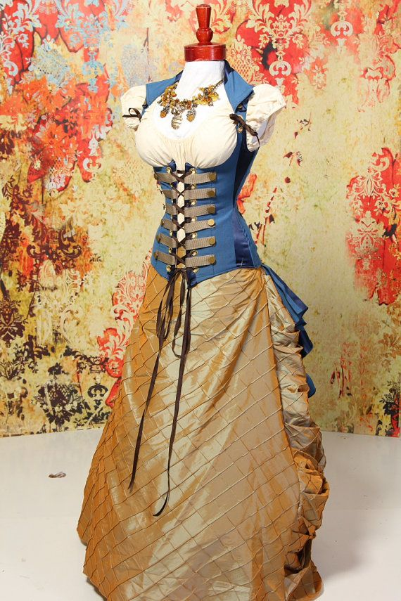 LAST of this fabric-Waist 25 to 27-Nautical Blue Stripe Steampunk Peplum Coat