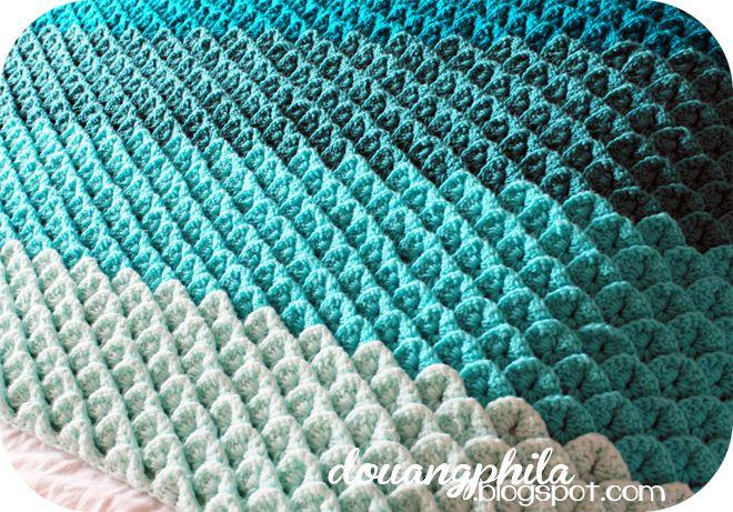 Ombre crocodile crochet throw   My DIY   Crochet, Knit ...