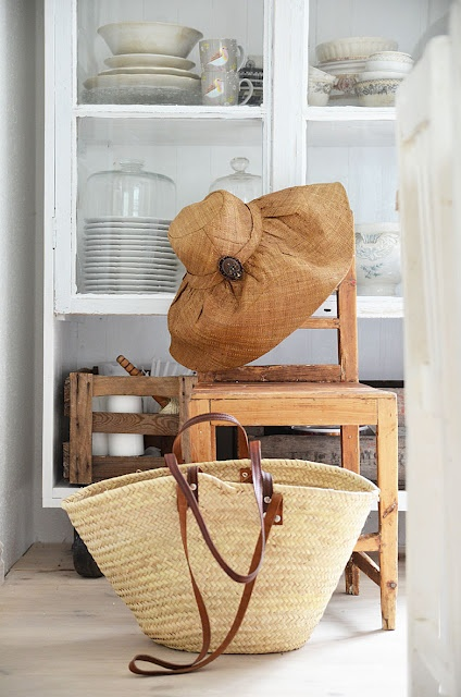 hat and straw bag