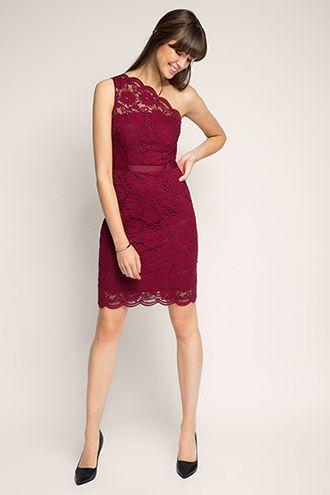 Esprit / One Shoulder Kleid aus Spitze