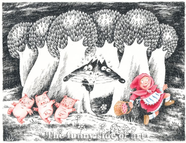 Little Red Riding Hood, Three little Pigs and the Big Bad Wolf   No 6, Giclee print of Original pen & ink, watercolor  child illustration. by Thefunnysideofart on Etsy