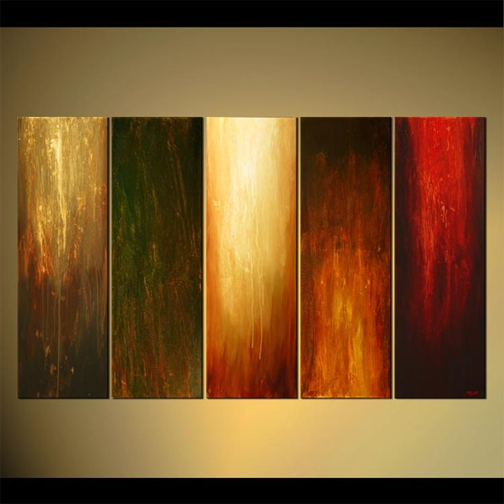 large vertical modern painting multi panel