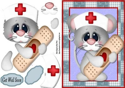 """Get Well Soon Plaster Mouse on Craftsuprint designed by Amy Perry - Get Well Soon Plaster Mouse in lovely patch work frame with decoupage and matching choice of tag """"Get Well Soon"""" and a blank tag for your own sentiment - Now available for download!"""