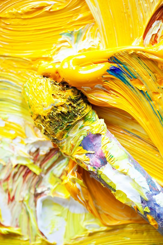 clumps of paint - yellow with bright blue, purple & white accents inadvertently mixed in on and around the brush. I love the texture and potential of this.