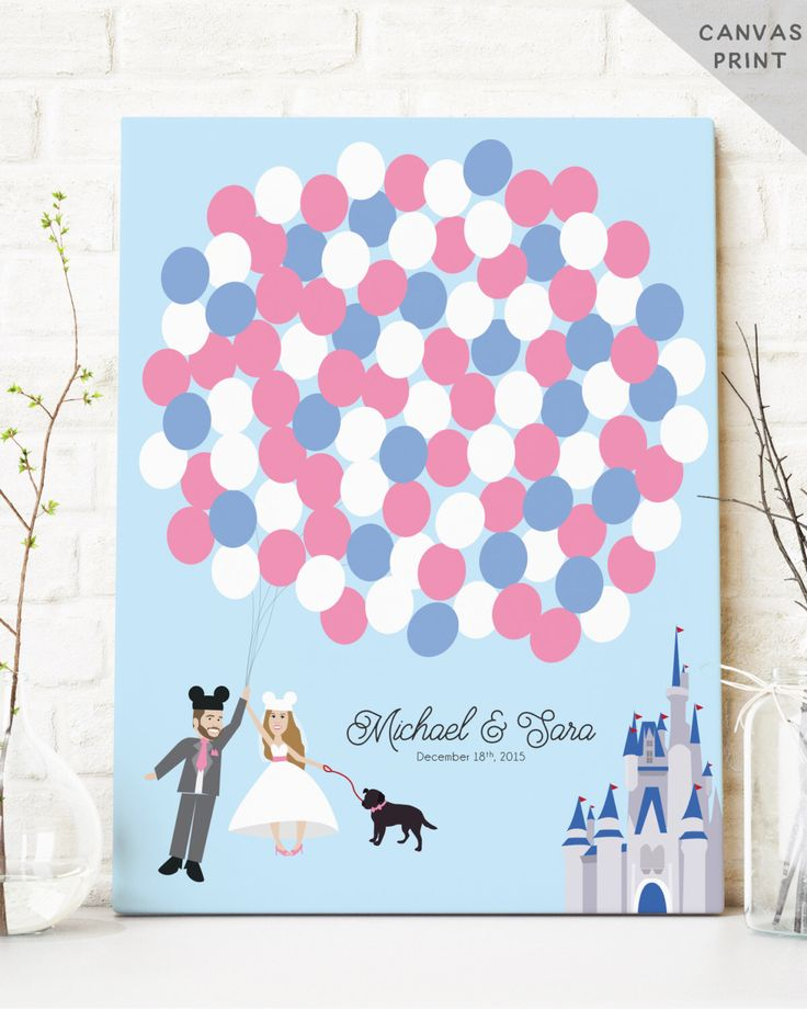 Canvas Wedding Guest Book Alternative with Balloons - Fairytale Castle Guest Book Poster - Unique Guestbook Sign in - CANVAS Guest Book by MissDesignBerryInc on Etsy https://www.etsy.com/listing/198327572/canvas-wedding-guest-book-alternative
