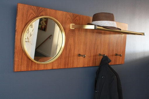 Midcentury Scandianvian mirror with hooks and shelf @sfgirlbybay MCMF