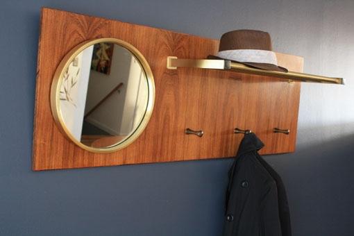 Midcentury Scandianvian mirror with hooks and shelf @sfgirlbybay MCMF