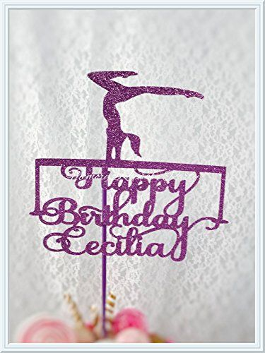"""Gymnastics Cake Topper. Your special one is celebrating her birthday and gymnastics is the love of her world, is why we created this Gymnastics cake topper just for her. We've taken the concept of a Gymnastics birthday party and elevated it with high quality glitter card stock. Great as a centerpiece pick, just let me know and I will attach to a 16"""" wooden pole. Measurements - 8"""" tall x 8"""" wide Custom sizing is available upon request Color In the photo the Gymnastics Balancing Beam…"""