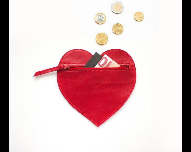 Heart Shaped Leather Card & Coin Purse  Made from genuine red leather, closes with a contrast colored metal zipper.  All orders will be nicely gift wrapped!