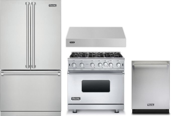Viking 3 4 Piece Kitchen Appliances Package With French Door